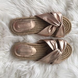 Metallic Rose Gold Slip-on Espadrilles EUC